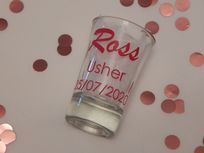 Personalised Wedding Shot Glass Name, Role & Date